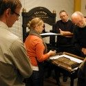 Carl Montford teaches iron handpress printing