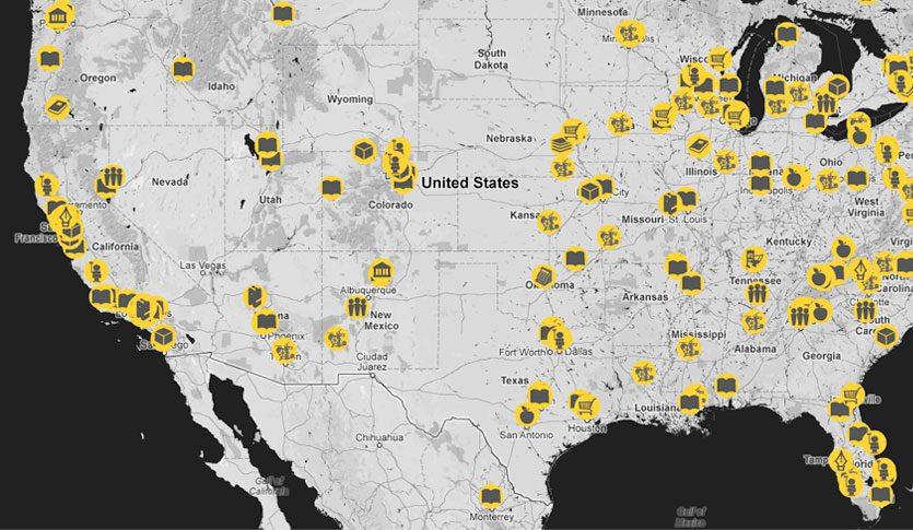 Print Trip Letterpress Map
