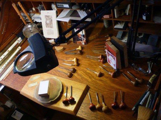Engraving bench set-up