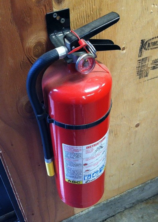 A large ABC rated fire extinguisher