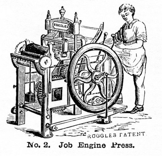 Ruggles Job Engine upside down press of 1840