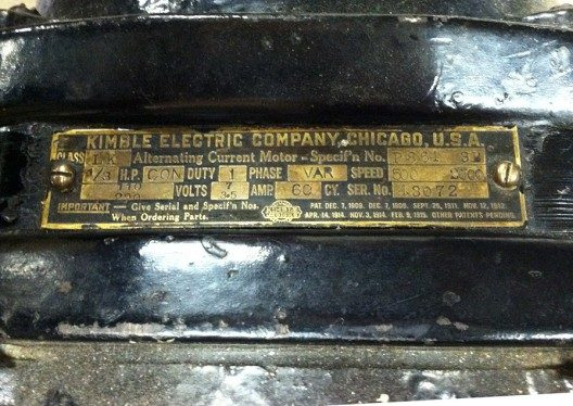 ca. 1918 Kimble variable speed motor nameplate