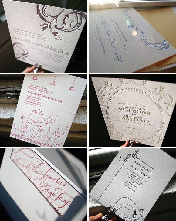 New 1 color letterpress wedding invitations - Bella Figura