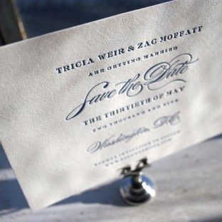 Letterpress save the date - navy - Bella Figura