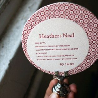 Letterpress coaster - wedding reception - Bella Figura
