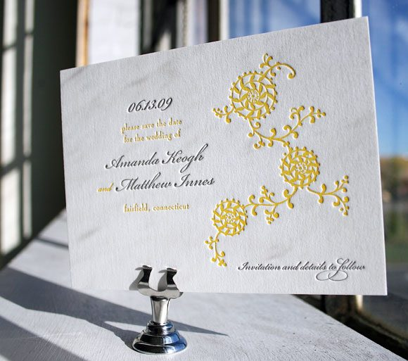Letterpress save the date in yellows and grays - by Bella FIgura