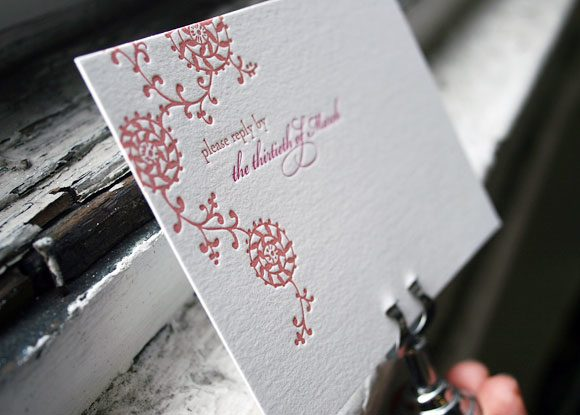 Letterpress invitations - shades of pink - Bella Figura