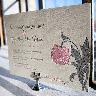Nonpareil letterpress wedding invitation with calligraphy