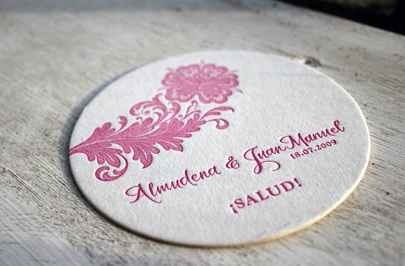 Nonpareil letterpress coaster with calligraphy
