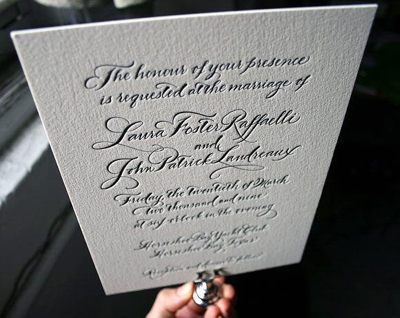 Letterpress calligraphy  - wedding invitations - Bella Figura