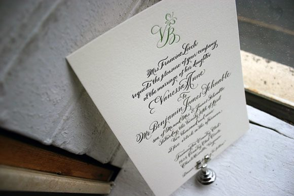Letterpress calligraphy monogram  - wedding invitations - Bella Figura
