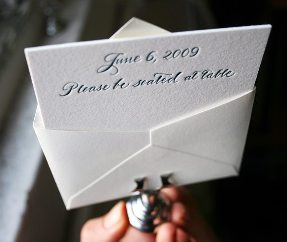 Cute letterpress placecard with calligraphy