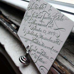 Letterpress calligraphy save the date - Bella Figura