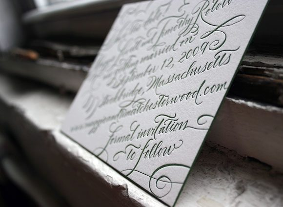 Letterpress calligraphy save the date - Bella Figura