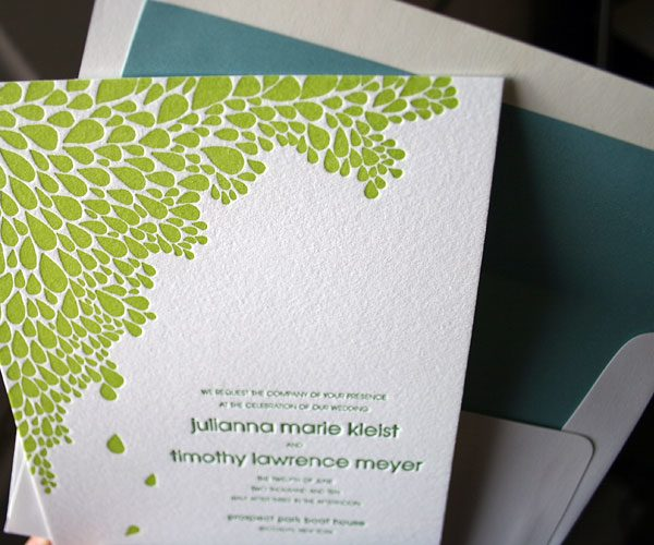 Dewdrop letterpress wedding invitation - inspired by the Brooklyn Bride - Bella Figura