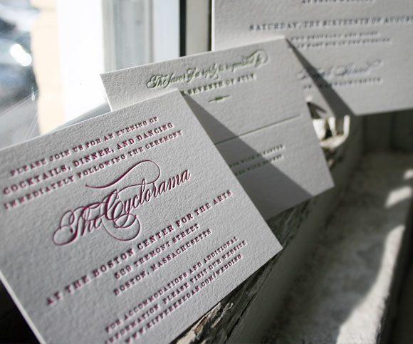 Letterpress reception cards
