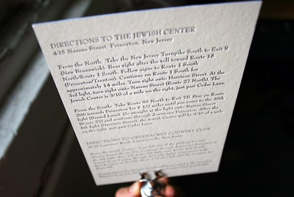Letterpress directions card