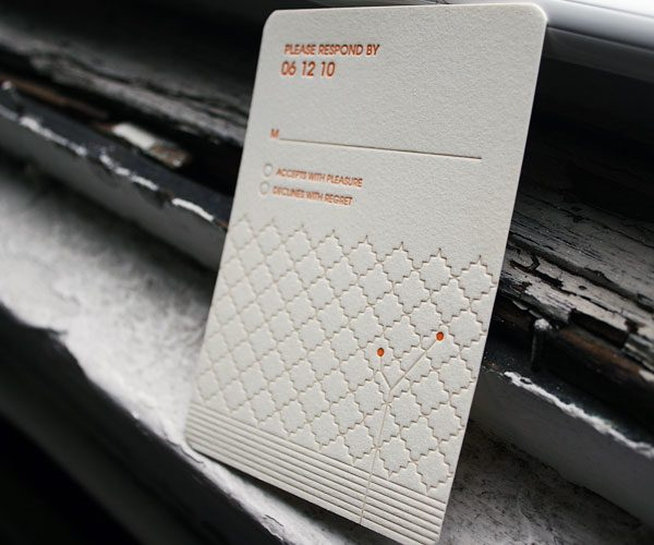 Seasonal letterpress wedding invitations - Bella Figura