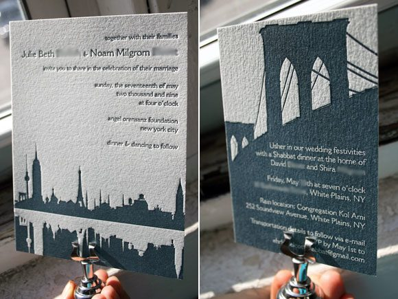 Custom Manhatten letterpress wedding suite - Bella Figura