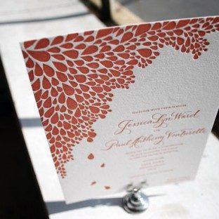 1-Color Dewdrop Letterpress Wedding Invitation
