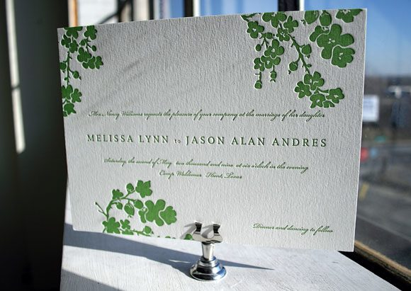 1-Color Mimosa Letterpress Wedding Invitation