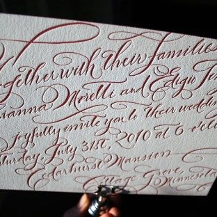 New Calligraphy letterpress wedding invitations - Bella Figura