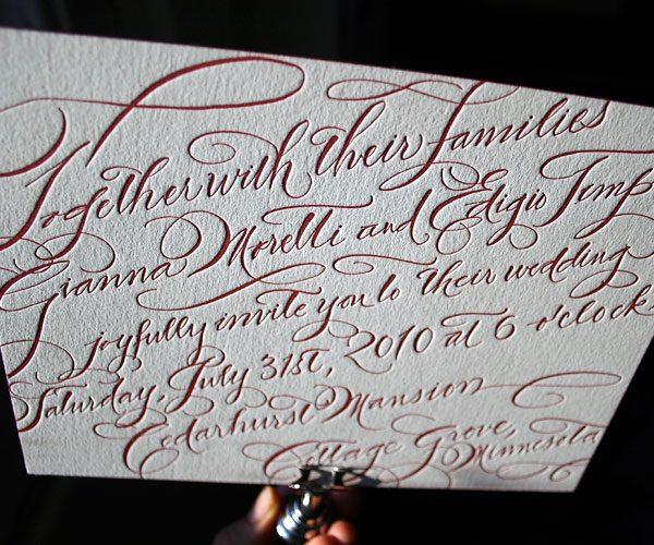 New Calligraphy letterpress wedding invitations - Bella Figura