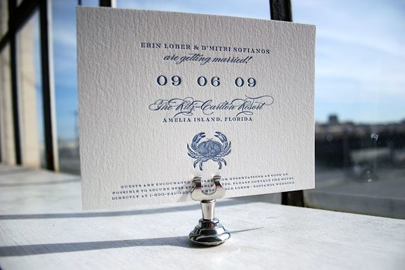 Crab letterpress save the dates - Bella Figura