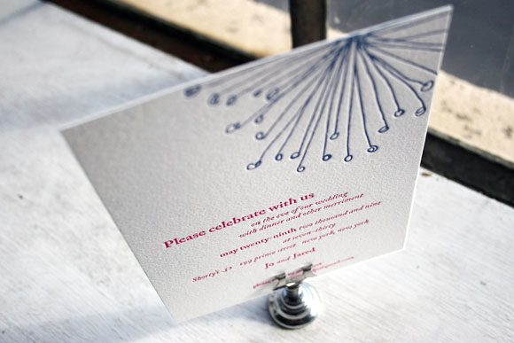 Buttonpom Letterpress Rehearsal Dinner Invitation
