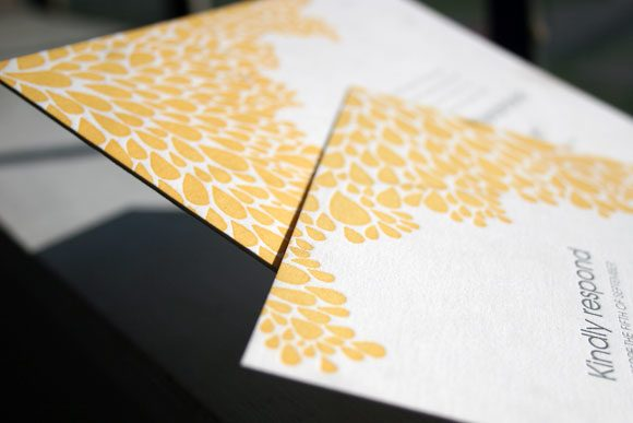 Dewdrop Letterpress Wedding Invitation by Bella Figura