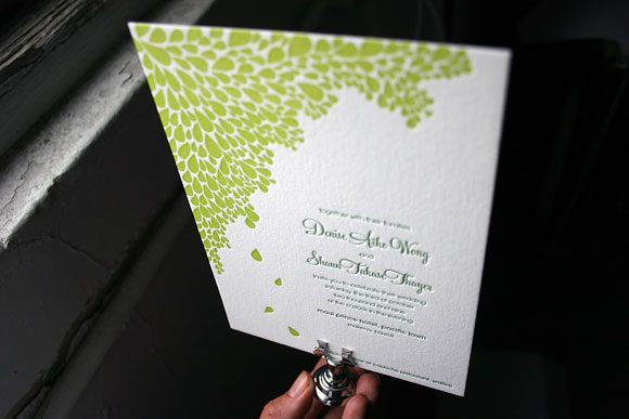 Tropical Colors Letterpress Wedding Invitations in Dewdrop by Bella Figura