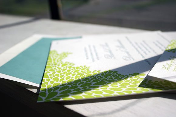 Bright Green Dewdrop Letterpress Wedding Invitation by Bella Figura