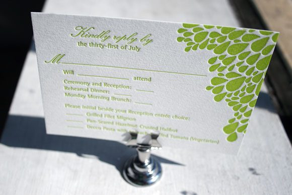 Bright Green Dewdrop Letterpress Reply Card by Bella Figura