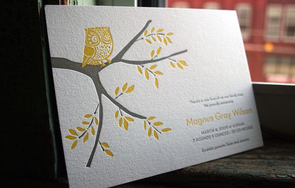Owl Letterpress Baby Announcement