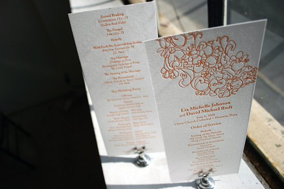 Letterpress Wedding Program