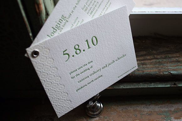 Grommeted Letterpress Save the Date by Bella Figura