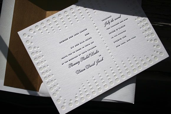 Champagne Letterpress Wedding Invitations