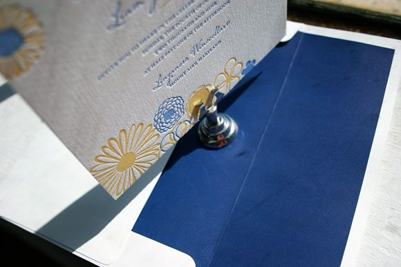 Blue and Yellow Floweret Letterpress Wedding Invitation by Bella Figura