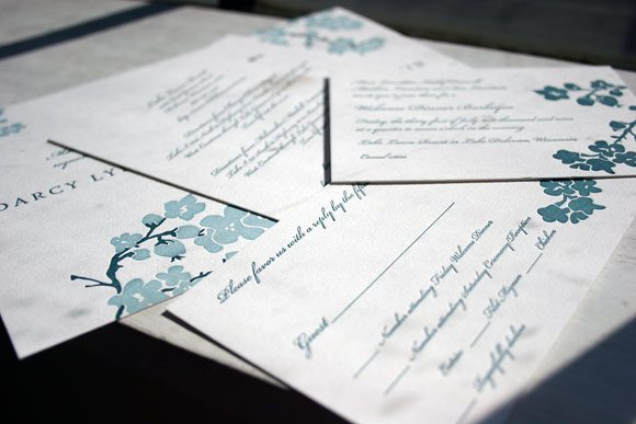 Mimosa Letterpress Wedding Invitation by Bella Figura