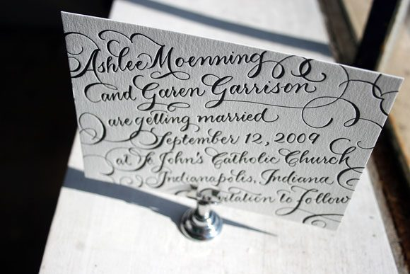 Letterpress Calligraphy Save the Date by Bella Figura