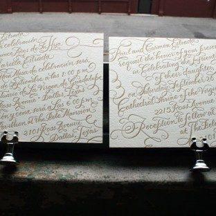 Bilingual Calligraphy Letterpress Wedding Invitaitons by Bella Figura