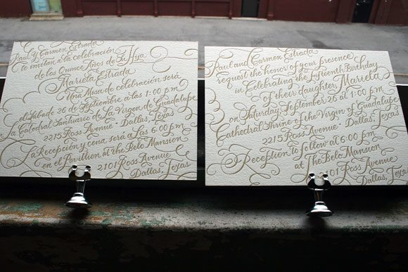 Bilingual Calligraphy Letterpress Wedding Invitaitons by Bella Figura