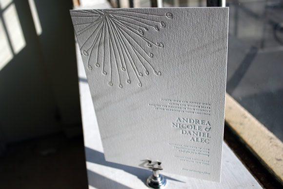 Buttonpom Letterpress Wedding Invitations by Bella Figura