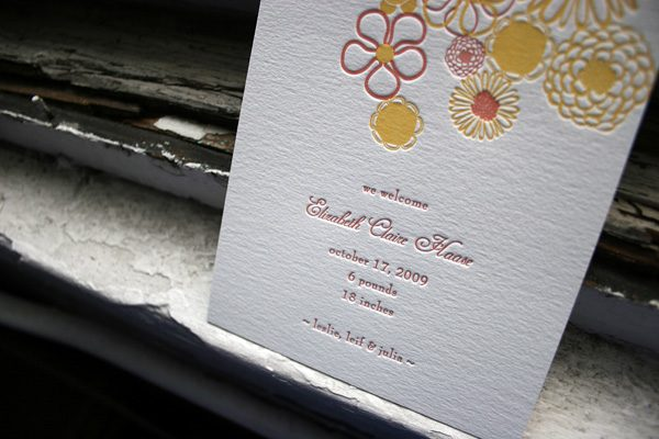 Letterpress Baby Announcement by Bella Figura