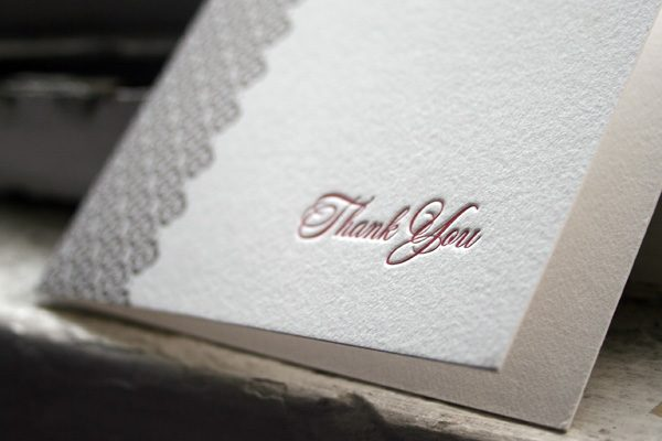 Majorca Letterpress Thank You Card by Bella Figura