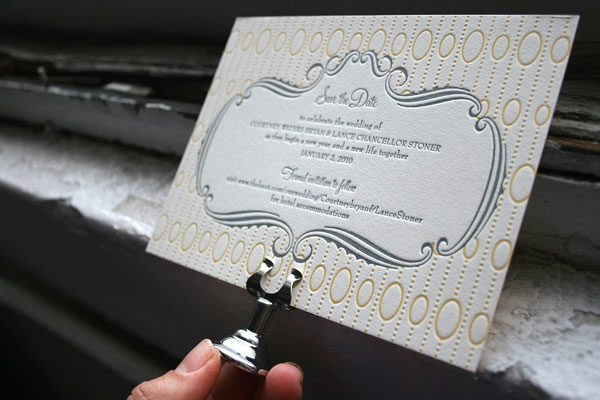 Silhouette Letterpress Save the Date by Bella Figura
