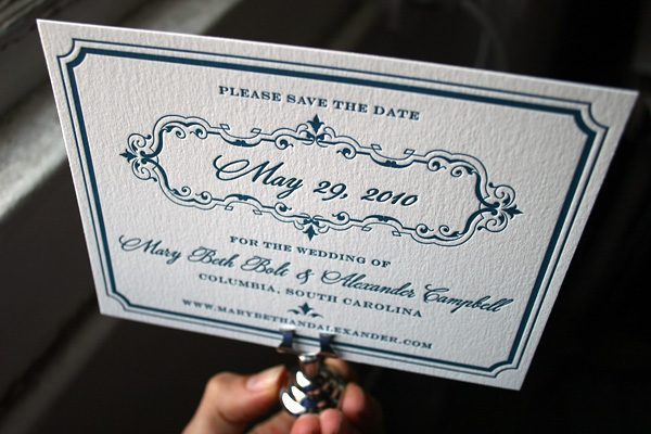 Marais Letterpress Save the Date by Bella Figura