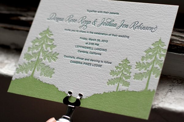 Adirondack Letterpress Wedding Invitations by Bella Figur