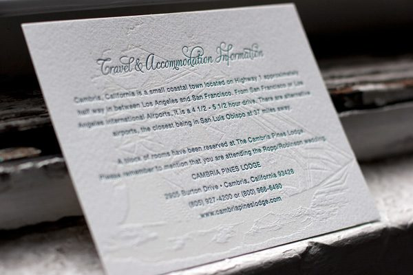 Adirondack Letterpress Wedding Invitations by Bella Figura