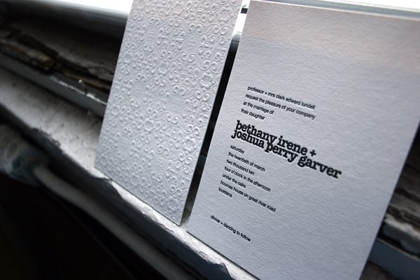 Custom letterpress invitations by Bella Figura